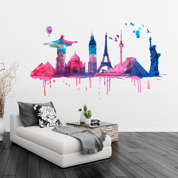 World Wide Travel Watercolor Monuments Wall Sticker Art Print For Housewares - Also available as Poster