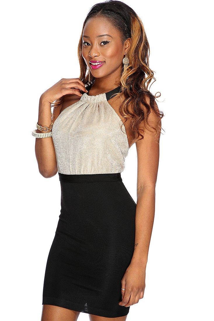 Gold black shimmer sleeveless halter party dress fashion jolee
