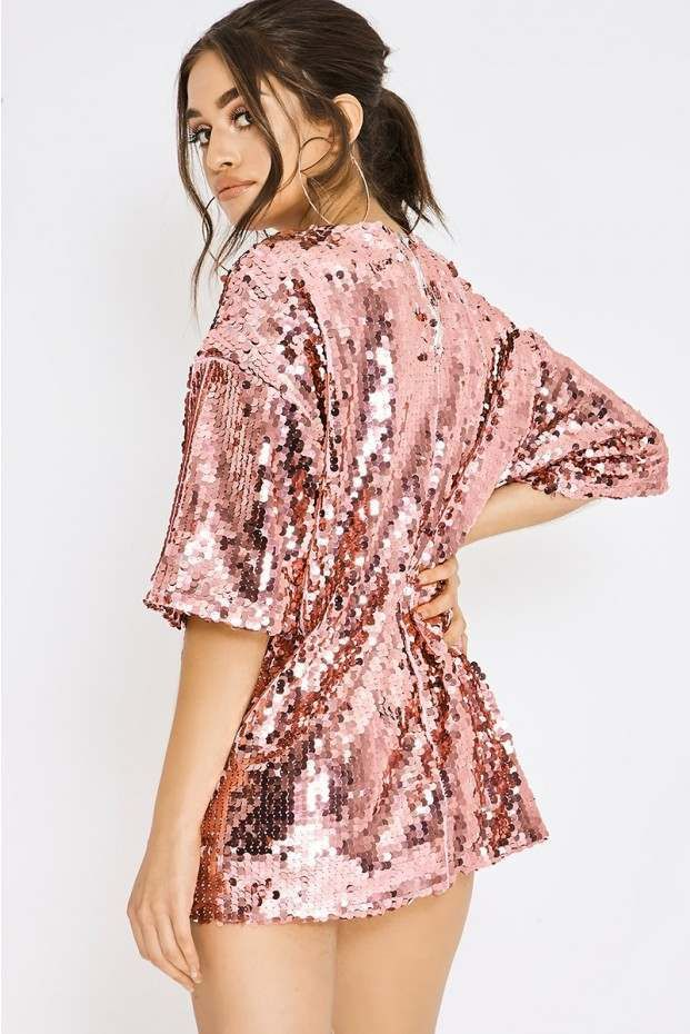 67bb0abe3203 PIA MIA PINK SEQUIN OVERSIZED T SHIRT DRESS | In The Style | rave in ...
