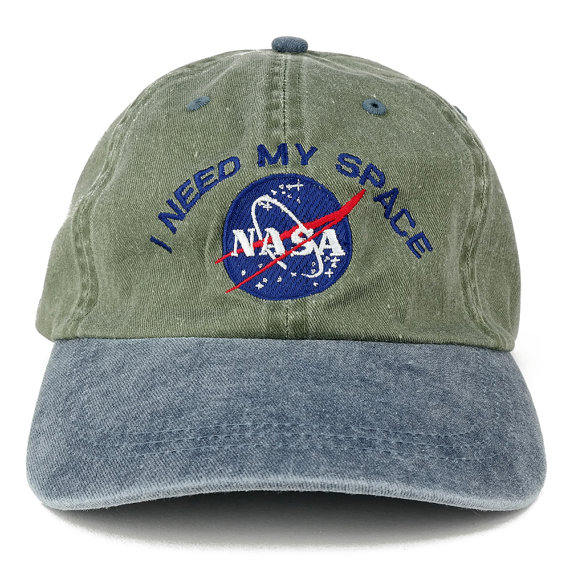 9bc6d14017c I NEED MY SPACE Nasa Meatball Embroidered 100% Cotton Cap - Olive ...