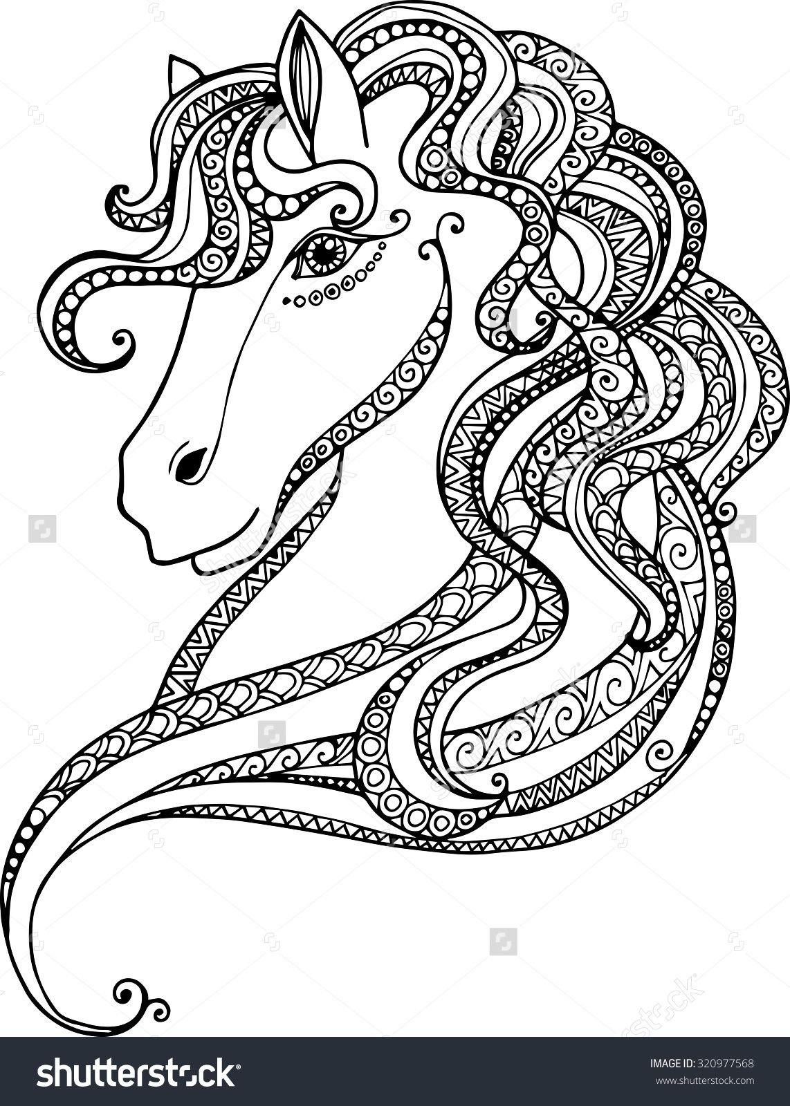 Hand drawn decorative horse head illustration. Horse drawing with ...