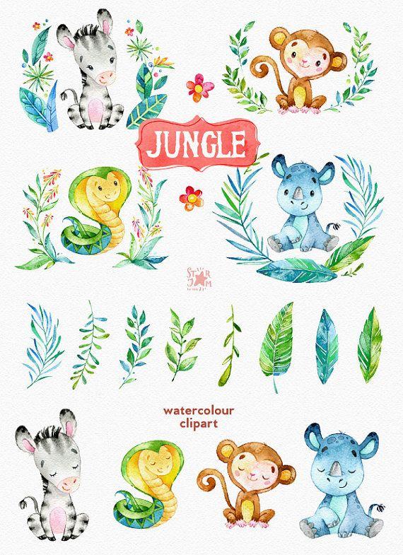 Jungle. Watercolor animals clipart, zebra, rhino, snake, monkey ...