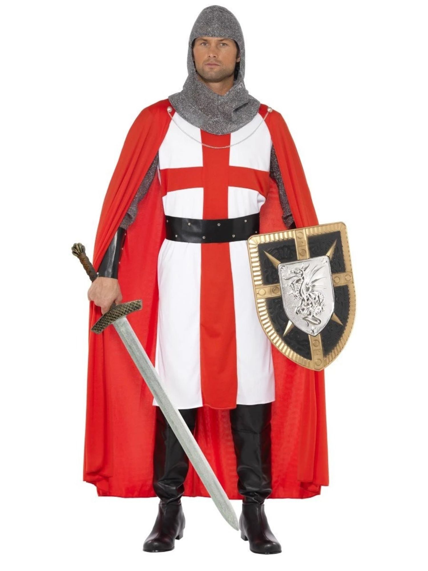 Mens St George Knight Costume Medieval King Arthur Adult Fancy Dress Outfit
