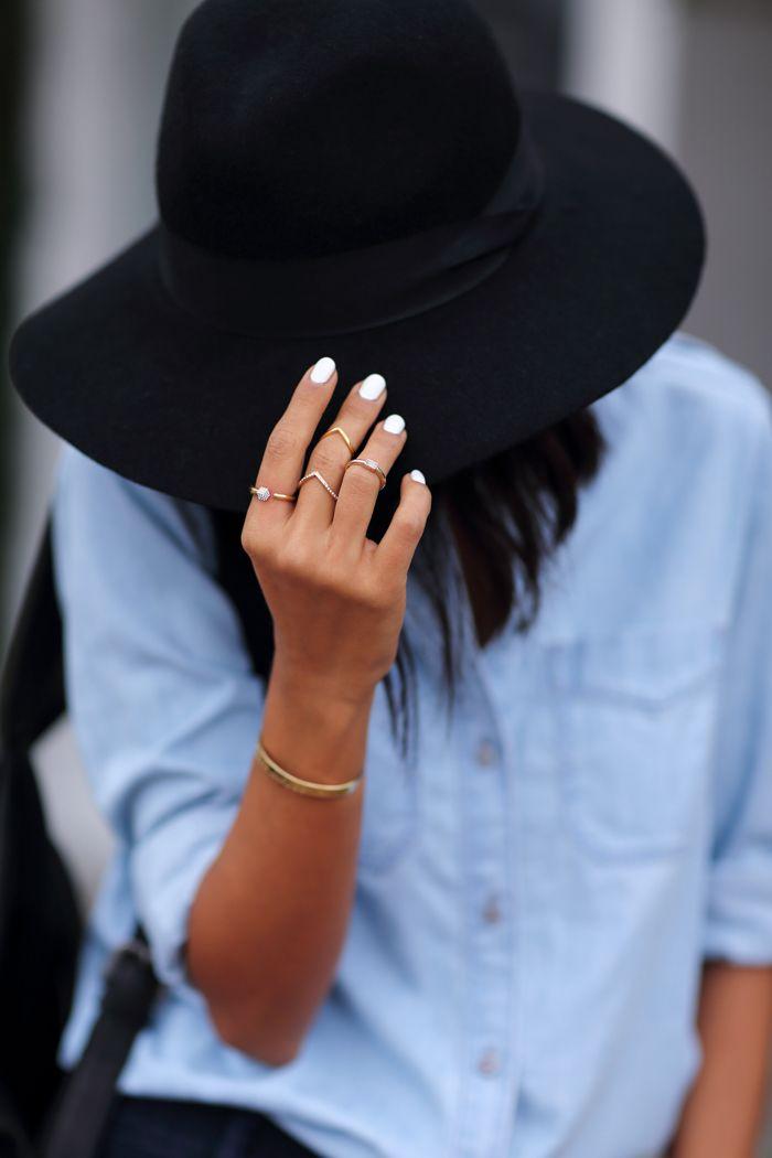 EXPRESS wool felt fedora hat   medium wash denim boyfriend shirt ... b6c2a98ae99