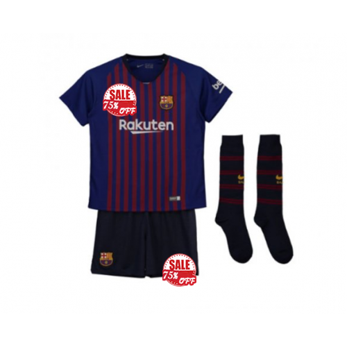 10b40102200 Kids FC Barcelona Home Soccer Jersey Sets Children Shirt + Shorts + Socks  2018-19 Model: Goal63832 Youth Messi Football Kits on Goaljeresyshop.com