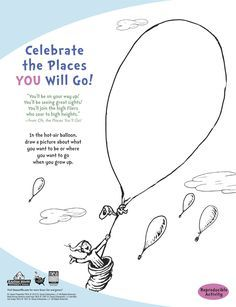 Oh The Places You'll Go Coloring Pages : places, you'll, coloring, pages, Places, You'll, Preschool, Graduation, Ideas, Drawing, Graduation,, Seuss, Crafts,, Balloon, Template