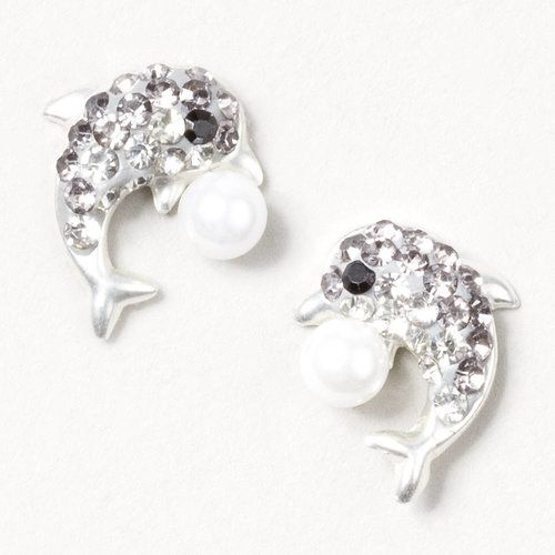 Sterling Silver Crystal Dolphin Stud Earrings | Claire's