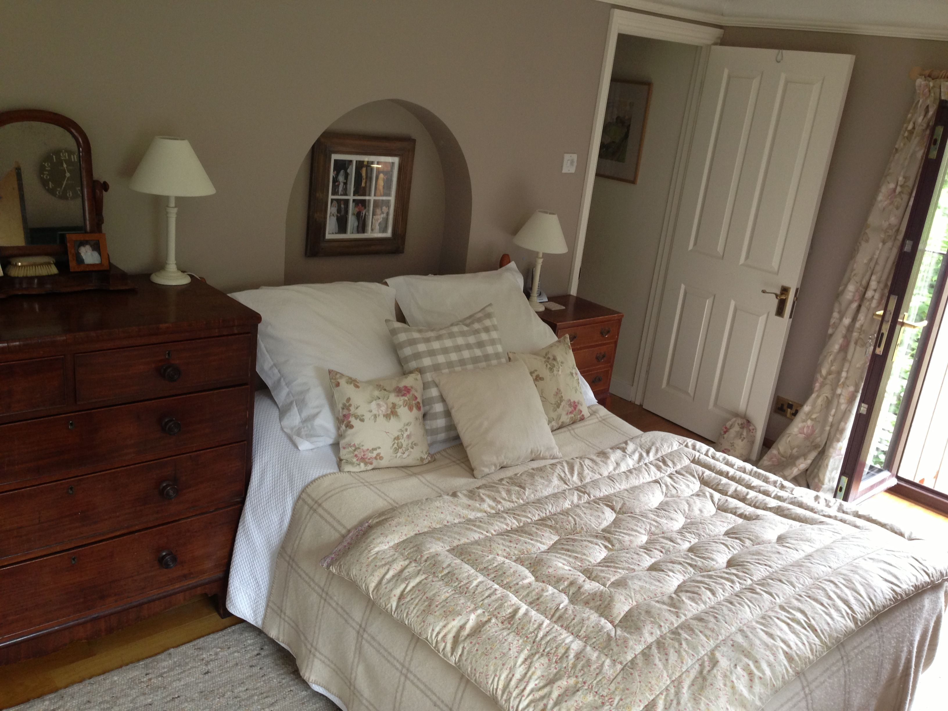Our bedroom painted in basswood by fired earth house for Earth bedroom