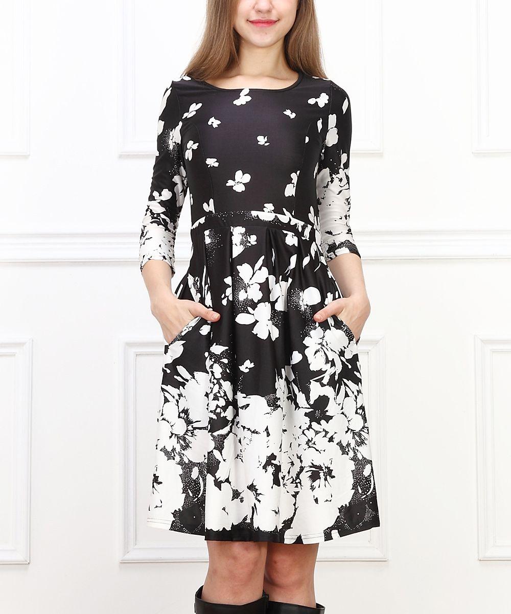 Black u white floral fit u flare dress fashion women pinterest