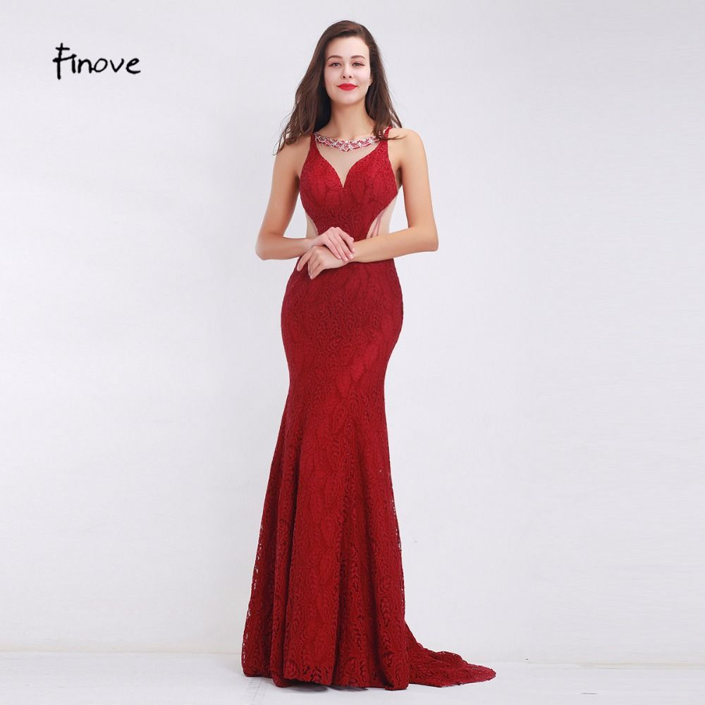 Finove wine red long elegant memaid evening dresses sexy party
