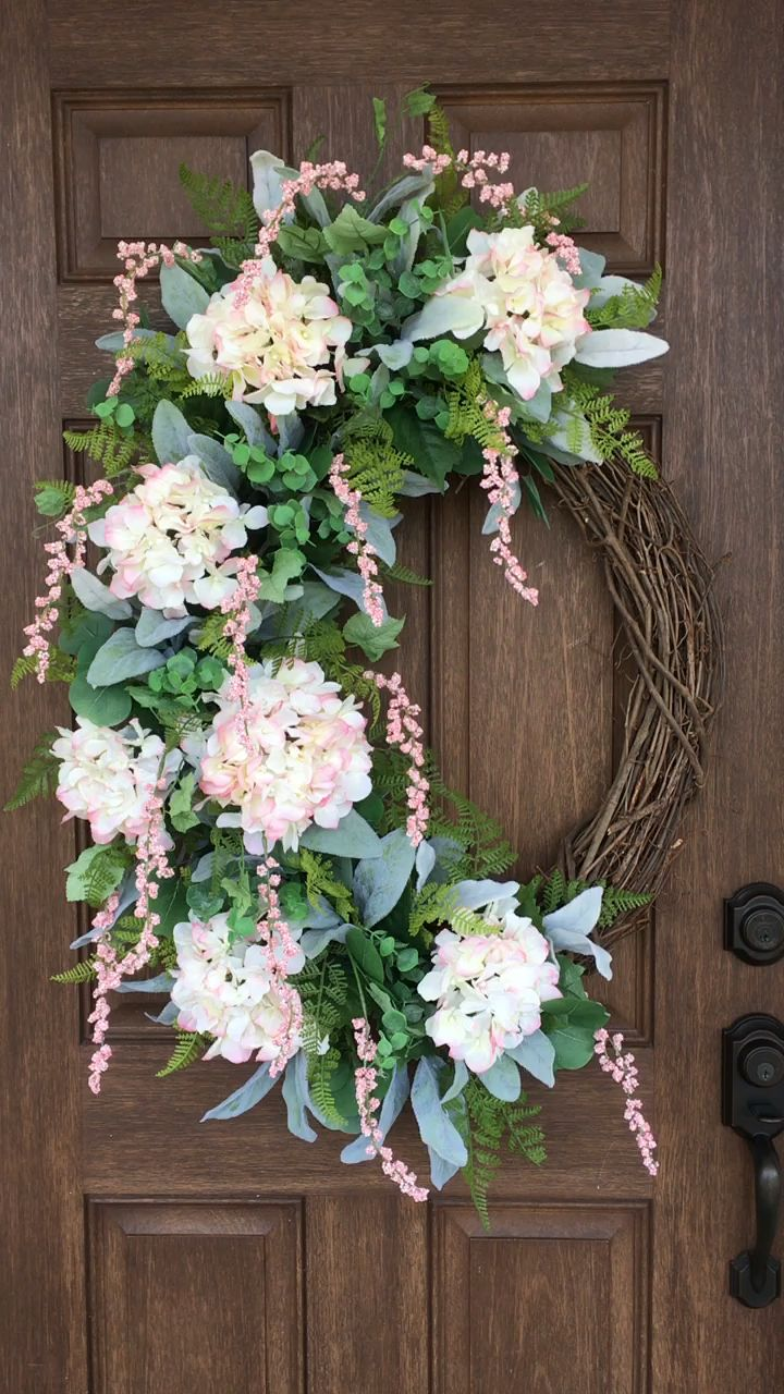 Photo of Spring wreath, spring decor, hydrangea vine wreath
