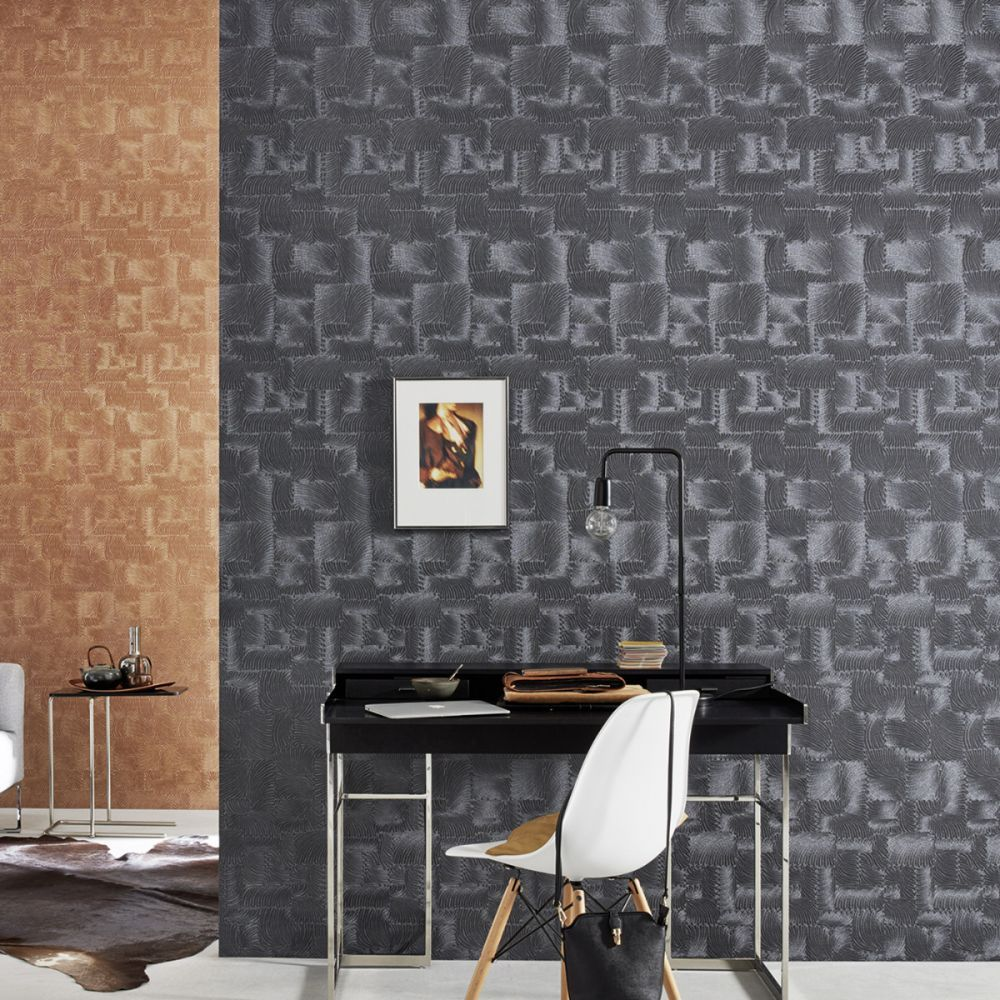 Textured Black Fossil Effect Wallpaper P+S 0248070