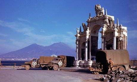 American soldiers by Santa Lucia fountain. Naples, 1944