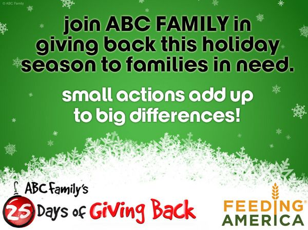 Abc Family Celebrates 25 Days Of Christmas With 25 Days Of Giving