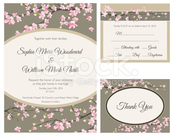 Cherry Blossom Wedding Invitation Set Of Three The Set Includes