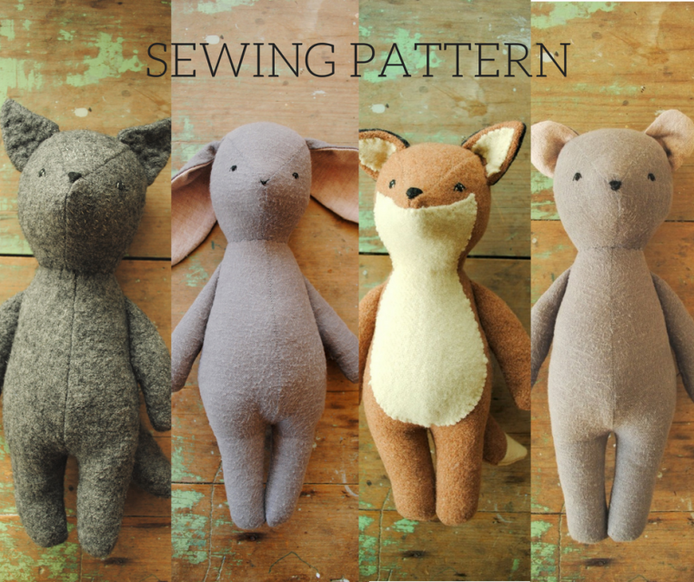 Simple PDF sewing patterns for vintage-style stuffed animal dolls, soft toys and their clothing, designed in Australia by Margeaux Davis of Willowynn. Download and print these easy templates and instructions to make heirloom softies including bunny, bear, fox, wolf, whale, platypus, mushroom, moth and butterflies. Clothing patterns for your Willowynn stuffed animal dolls also available. #sewtoys