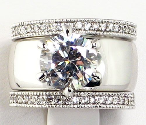 4.28 CT. Wide Solitaire CZ ETERNITY BAND Bridal Wedding 3 PC. Ring ...