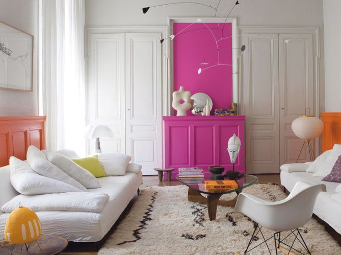 Salon blanc rose et orange / Orange pink and white living-room ...