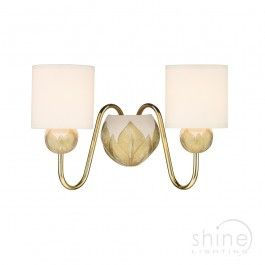 Dahlia dah0912 by david hunt lighting a stunning 2 light ivory gold a stunning 2 light ivory gold wall light with solid brass arms comes with cream fabric shades made in britain double insulated class ii 2 x ses aloadofball Image collections