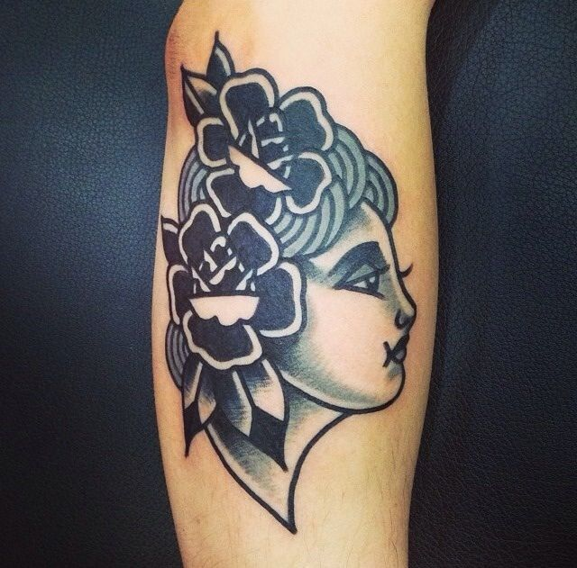 Traditional Tattoo. Black And White Women's Face. Flowers