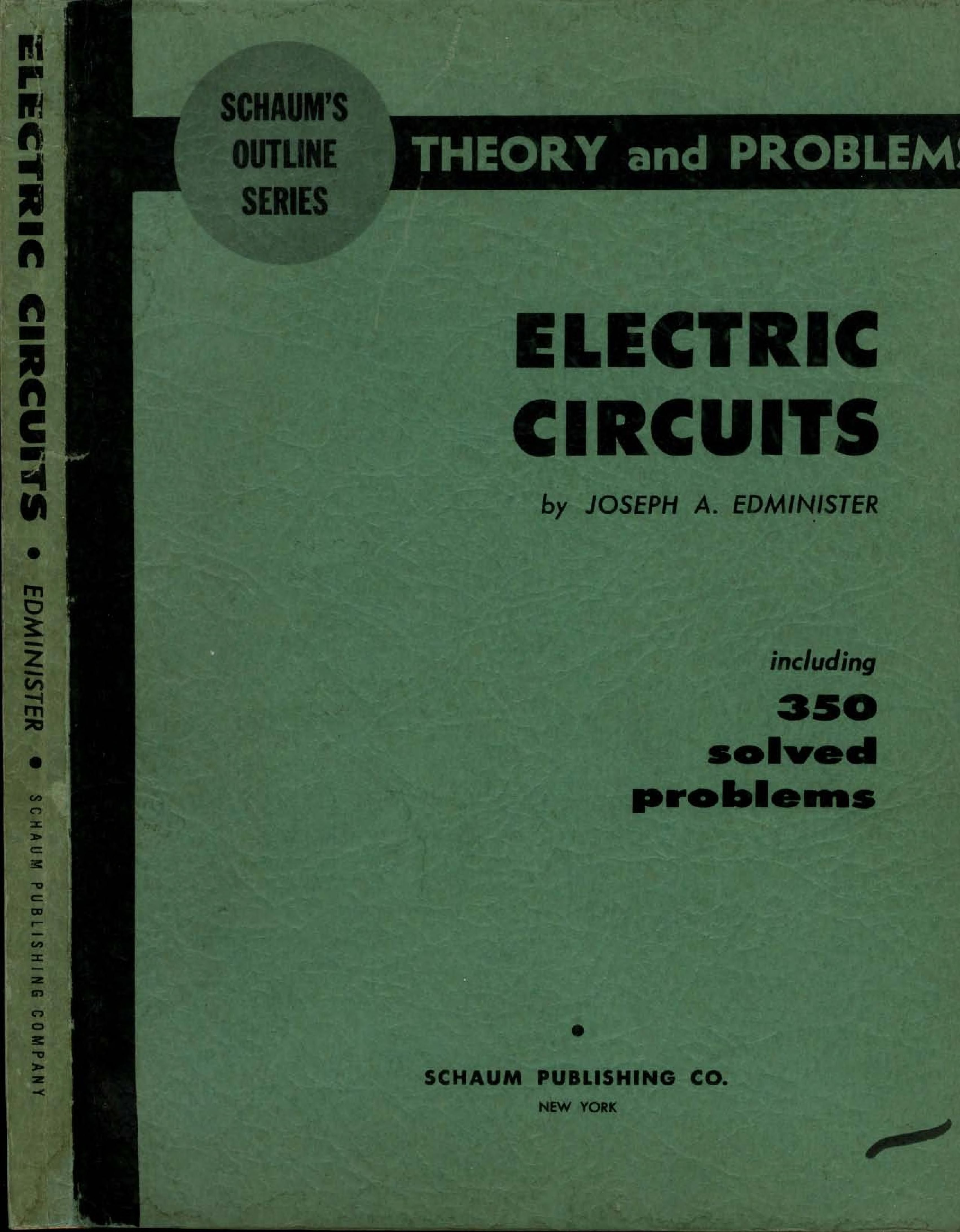 Schaums Theory And Problems Of Electric Circuits Electrical Electronic Circuit Book
