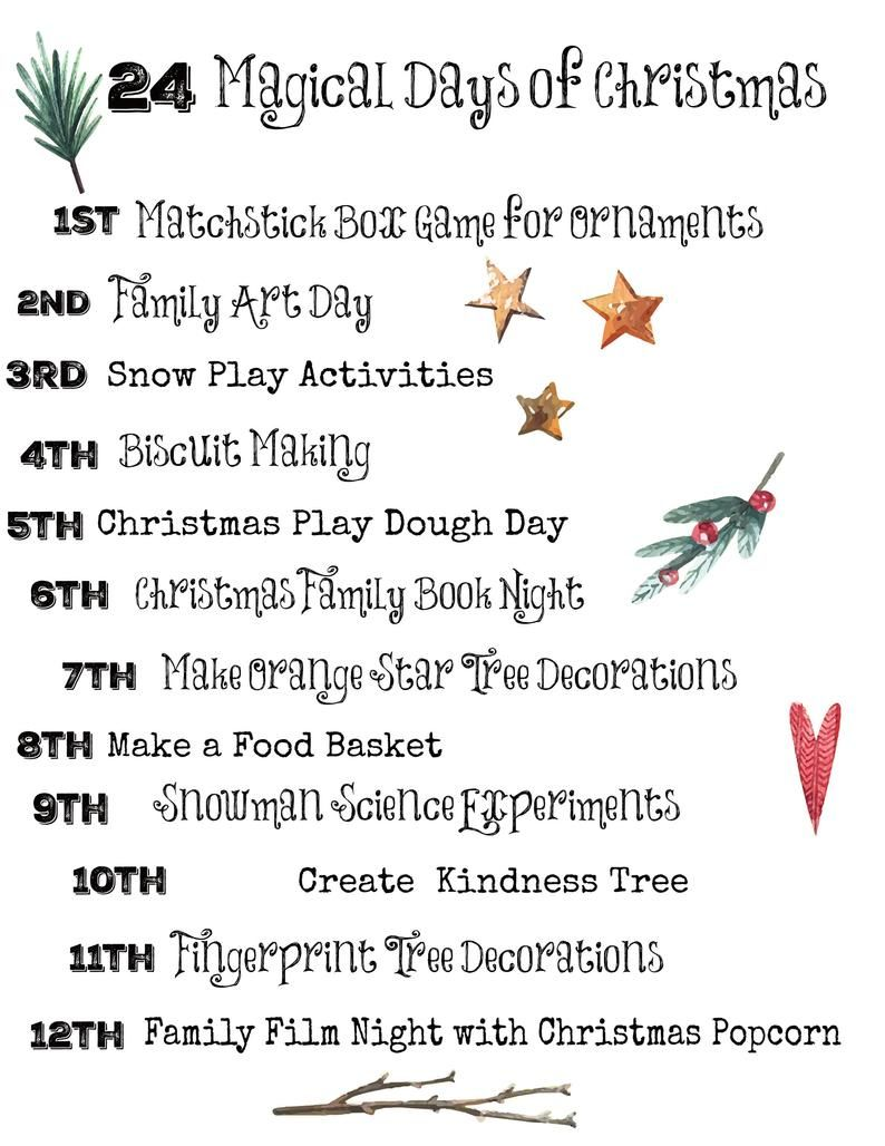 Christmas Activities Calendar for Families Printable Kids | Etsy