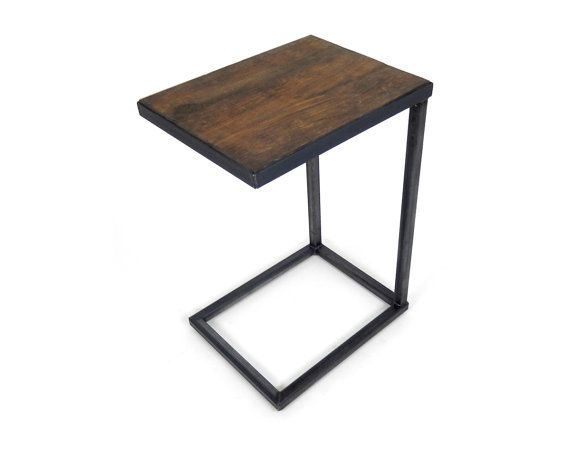 Hand Crafted Cantilever Side Table Industrial Furniture Barn Board Wood  Steel Base C End Accent Table