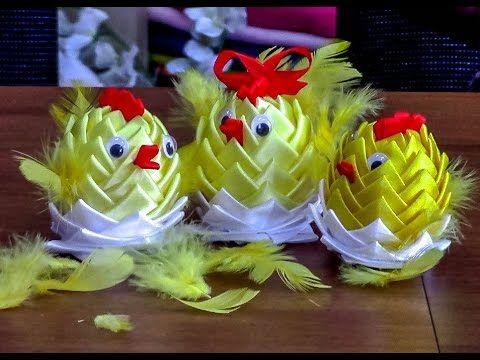 Канзаши. Пасхальные цыплята