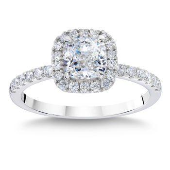 "Cushion Cut 2.01 ctw VS1 Clarity G Color Diamond Platinum ""Diana"" Ring"