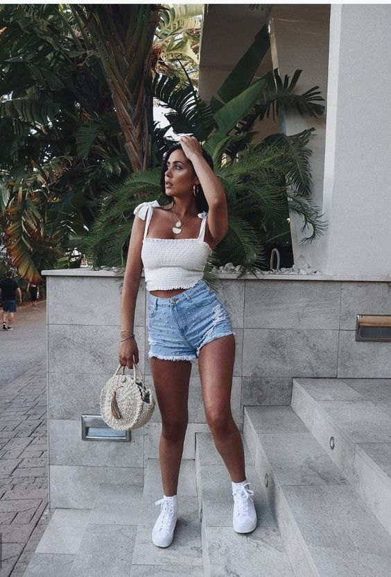 Photo of white tie shoulder crop top with ruffles summer tops …