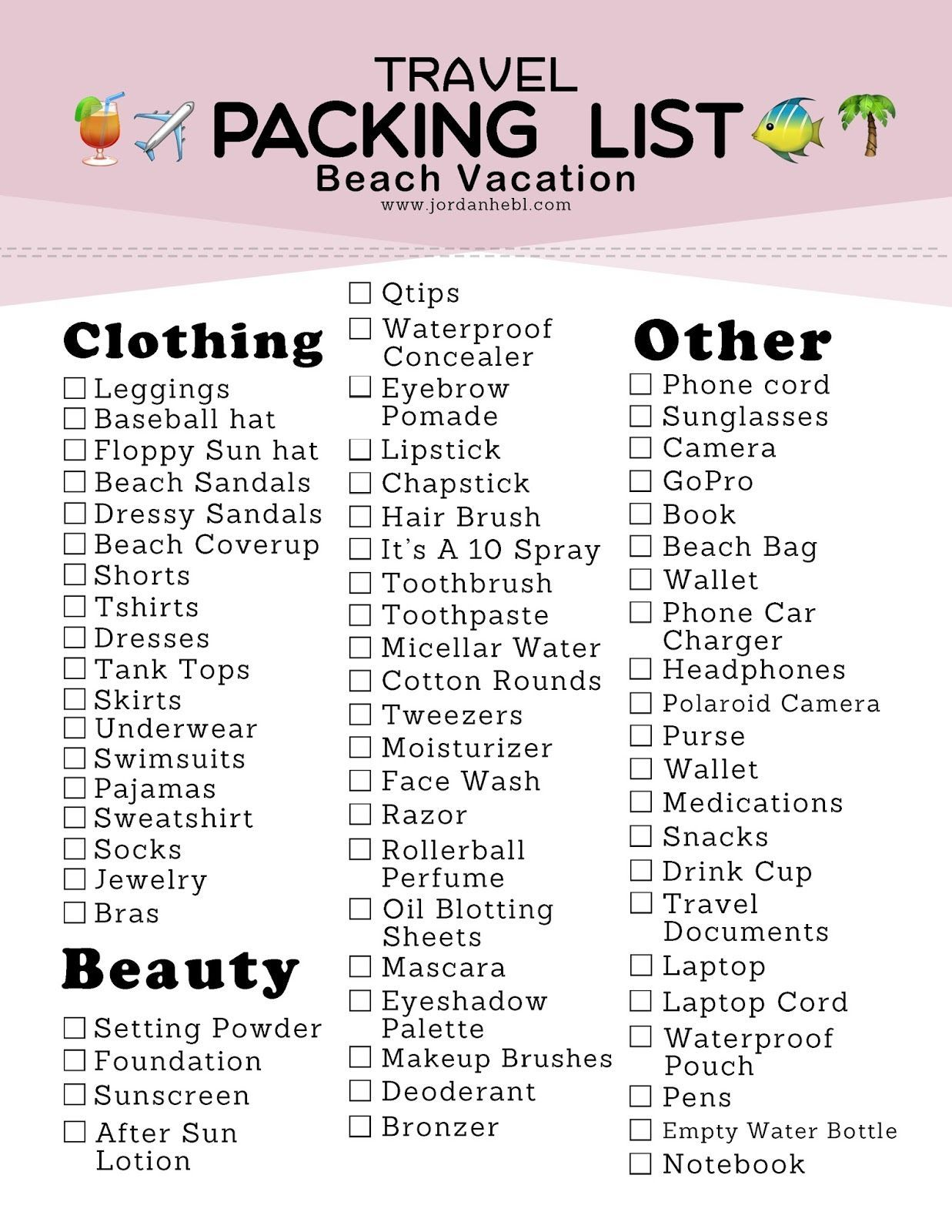 Packing List For A Beach Vacation Free Printable In