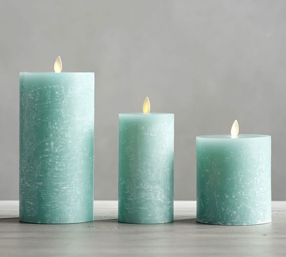 Pottery Barn Flameless Candles Premium Flickering Flameless Textured Candle Seaglass  Pottery