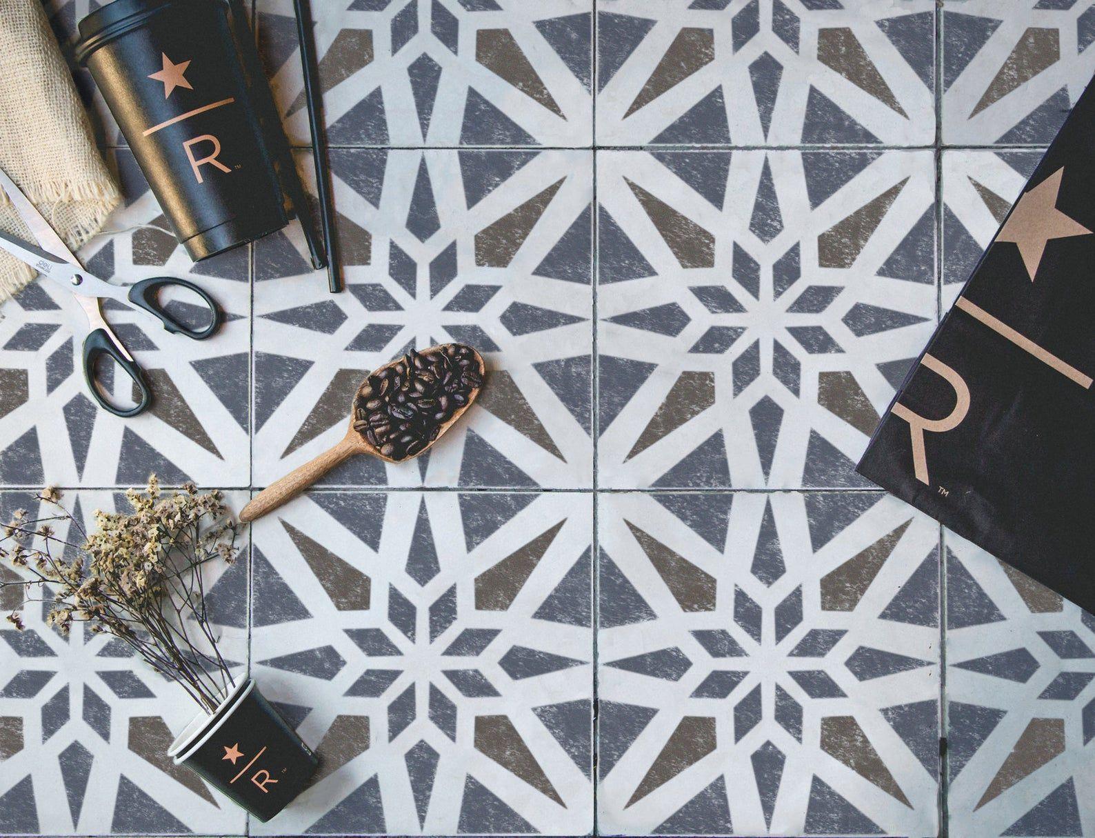 Modern Geometric Tile Stencil Tile Stencils Floor Wall