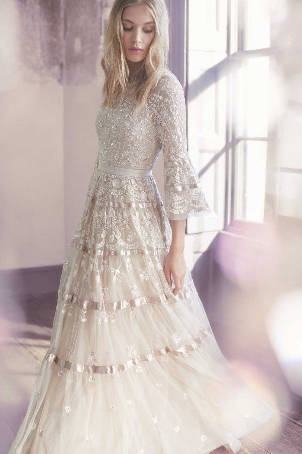 Needle Thread Bridal Roses Gown Champagne In 2020 Wedding