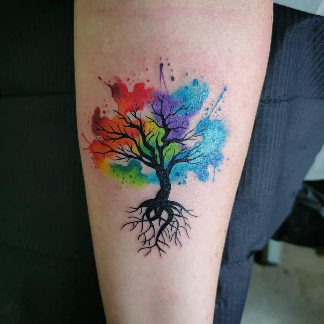 Watercolor Oak Tree Tattoo Watercolor Tree Tattoo Designs In 2020 Rainbow Tattoos Watercolor Tattoo Tree Tree Tattoo Designs