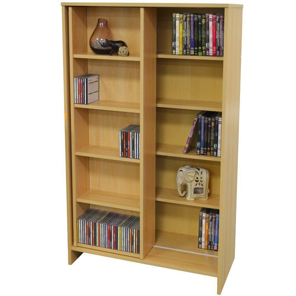Slide large cd dvd media storage bookcase display