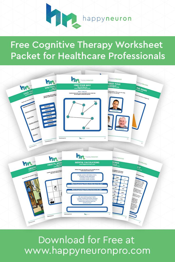 Download your free packet of Cognitive Therapy worksheets on ...