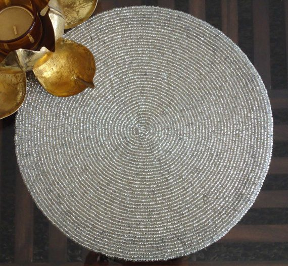 Handmade Beaded Silver Table Mat Centre Piece Beaded Charger Placemat Silver Table Handmade Bead Matted