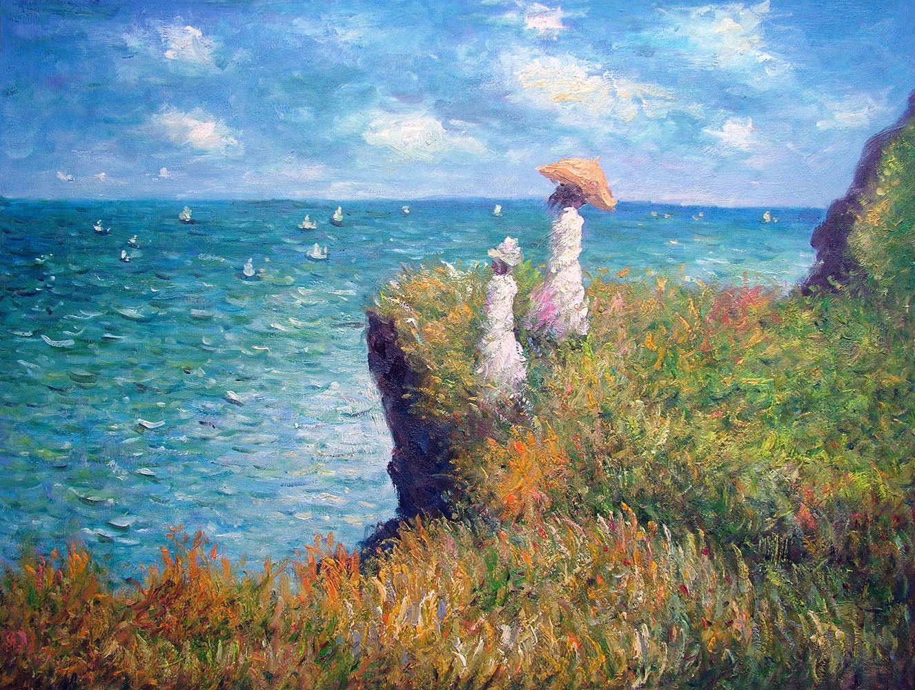Walk on the cliffs by Claude Monet Giclee Fine ArtPrint Reproduction on Canvas