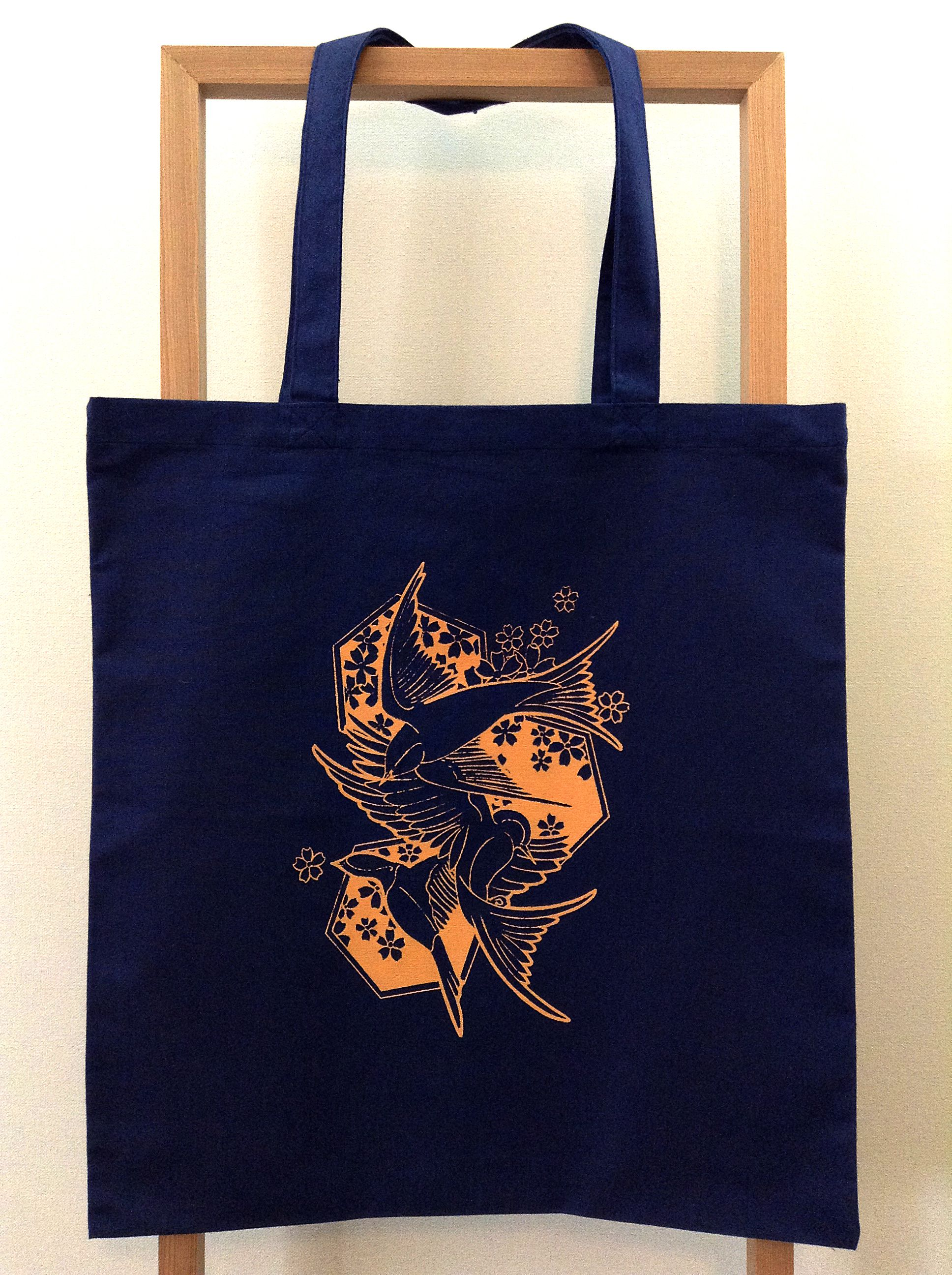 SWALLOWS IN FLIGHT  NAVY - Tote  100% cotton canvas  - 15 x 16  $10.00 + $.5.00 Shipping