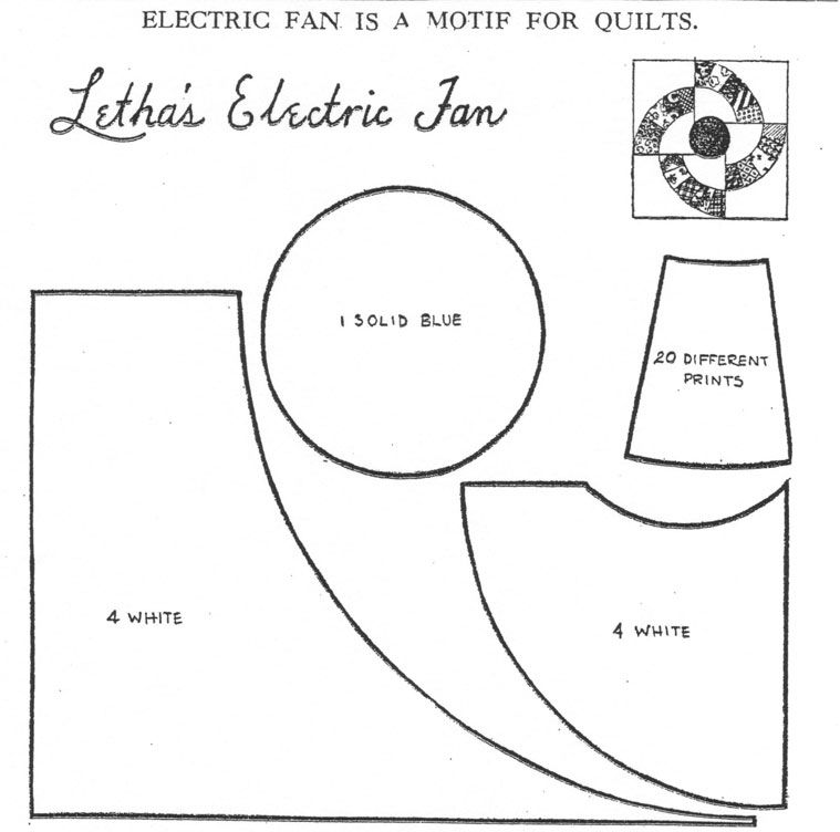 pattern for Letha's Electric Fan appeared in the Kansas