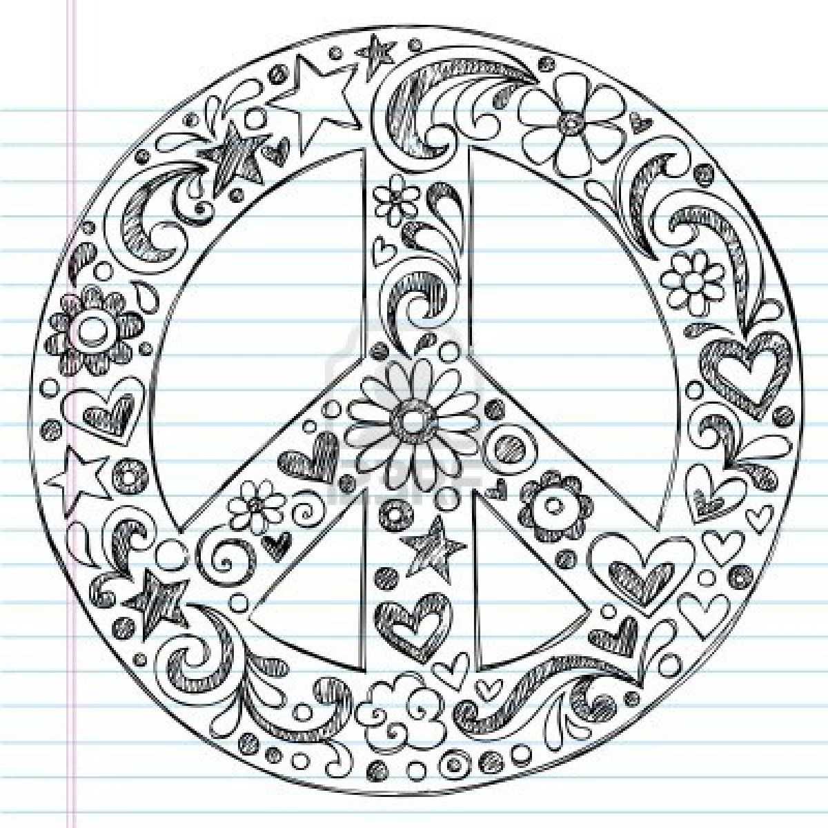Large printable peace sign 9370277 hand drawn sketchy peace sign hand drawn sketchy peace sign doodle with flowers hearts and stars on lined notebook paper background vector illustration 74539765 shutterstock biocorpaavc