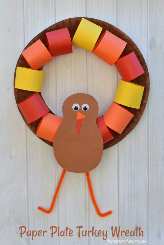 This Paper Plate Turkey Wreath is a