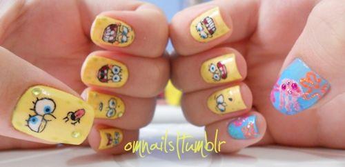 Spongebob Squarepants, Spongebob Squarepants, Spongebob Squarepants! On nails :D