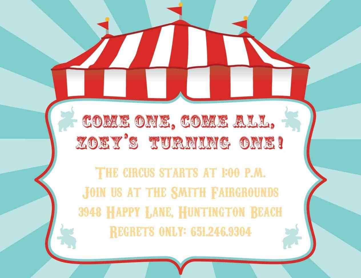 carnival birthday party invitation template free birthday party ...
