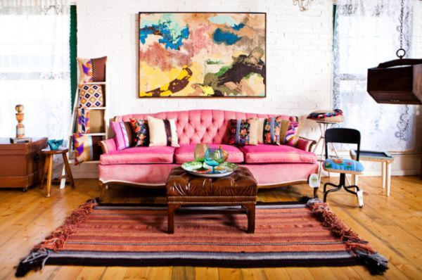 Planning a Room Around a Non-Neutral Sofa | Pink sofa, Neutral and ...