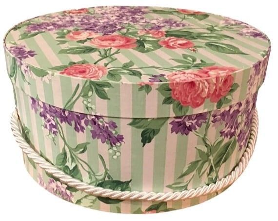Hat Box In Green Floral Fabric, Hat Boxes, Round Box, Storage, Decorative | Hat  Boxes, Box Storage And Storage