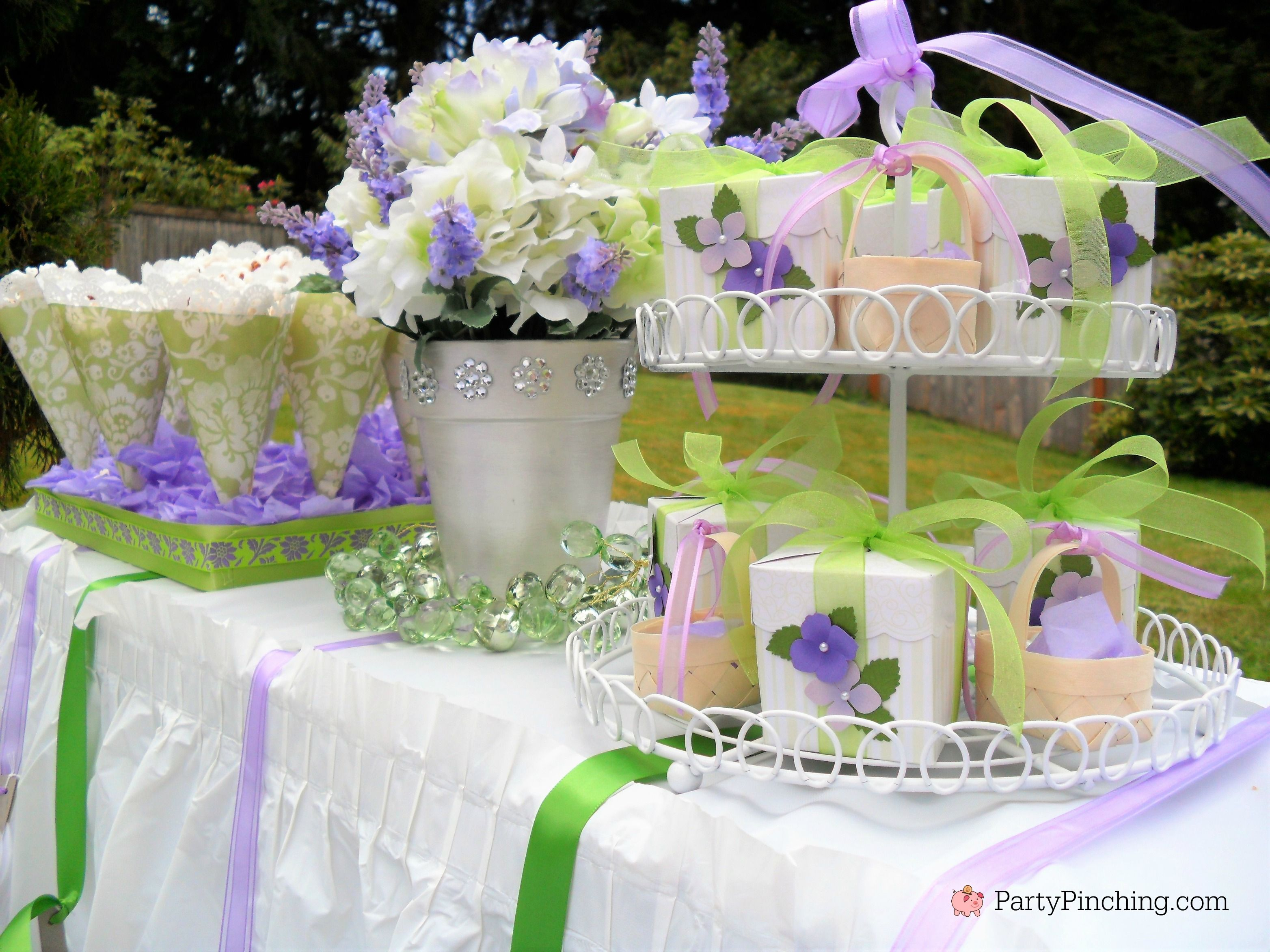 bridal shower ideas budget friendly inexpensive bridal shower luncheon garden outdoor patio bridal shower lavender bridal shower pretty purple lunch