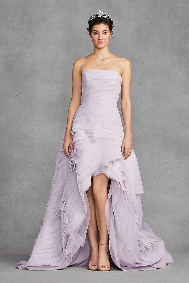 White by Vera Wang Organza High-Low Lavender Wedding Dress | David\'s ...