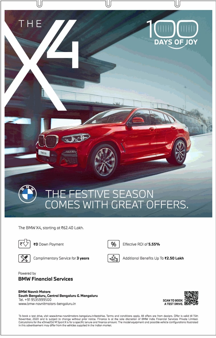 Bmw The X4 The Festive Season Comes With Great Offers Ad Toi Bangalore 12 11 2020 Bmw Festival Season Car Advertising [ 1183 x 757 Pixel ]
